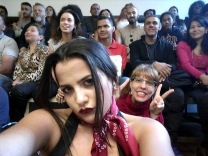 "Selfie with audience from ""As Três Patetas em Chamas"""